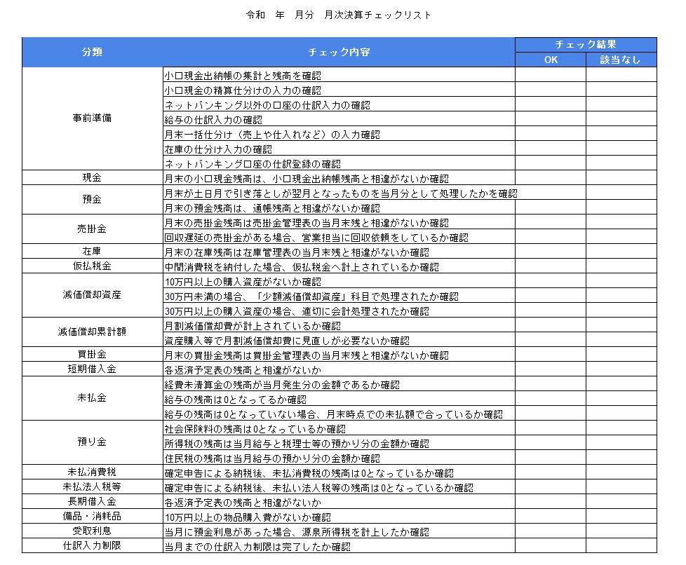 月次決算処理チェックリスト