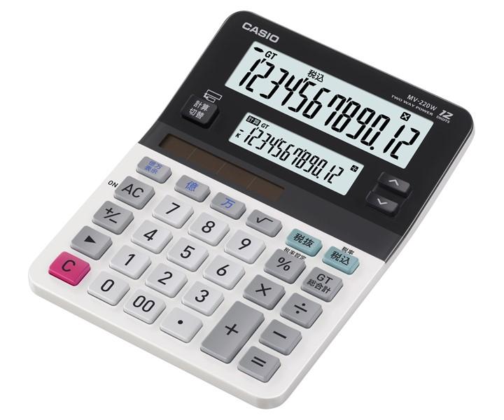 ツイン液晶電卓 MV-220W(カシオ)