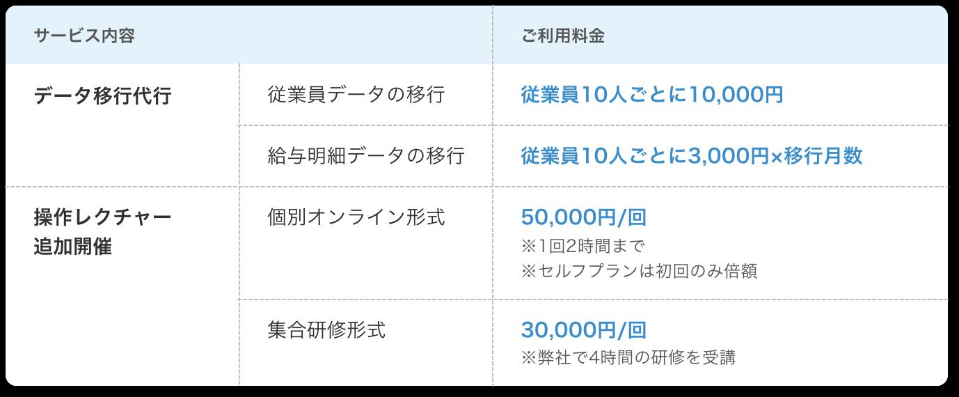 オプションサービス表