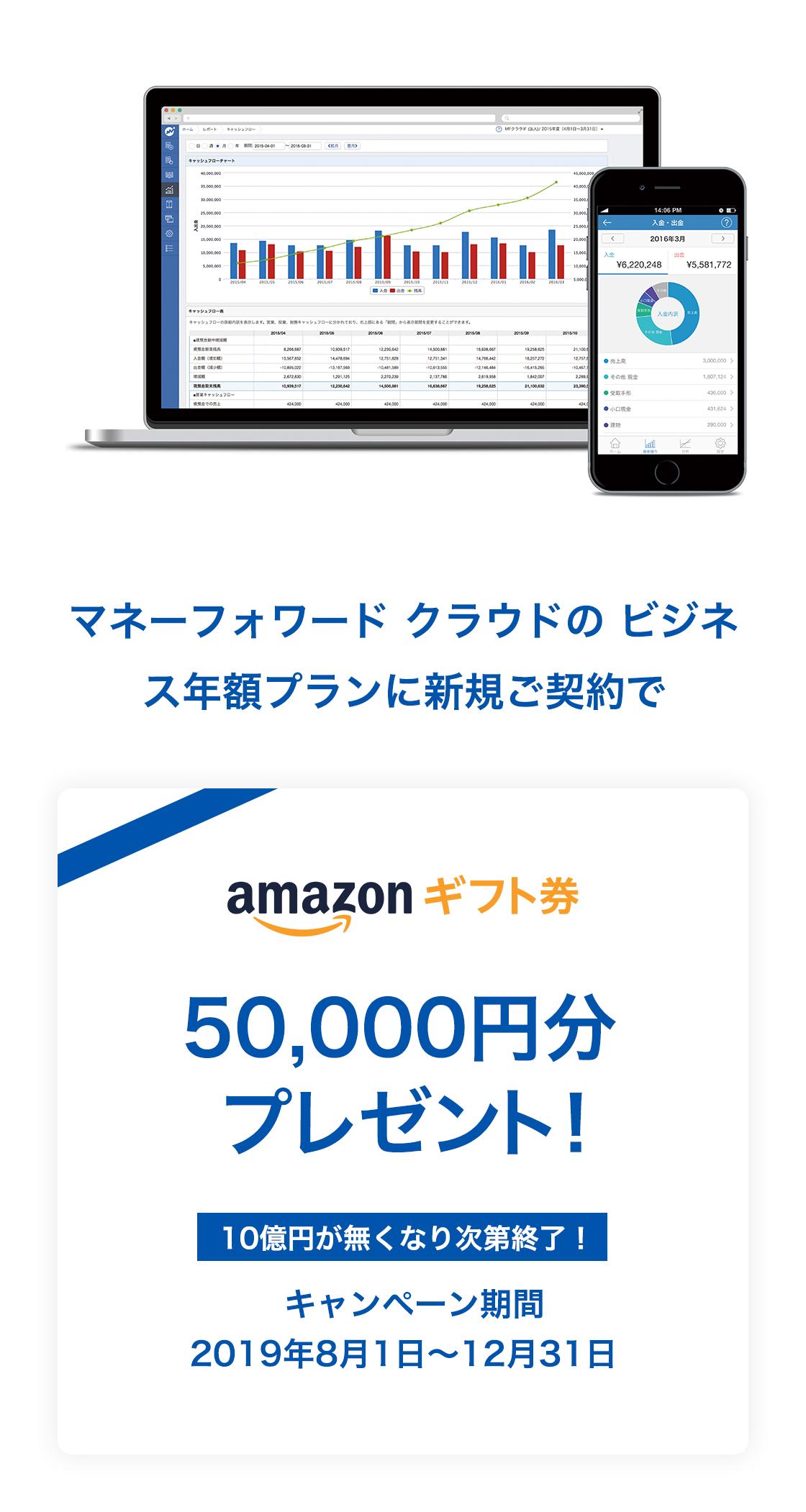 マネーフォワード クラウドのビジネス年額プランの新規ご契約で amazonギフト券 50,000円分プレゼント!