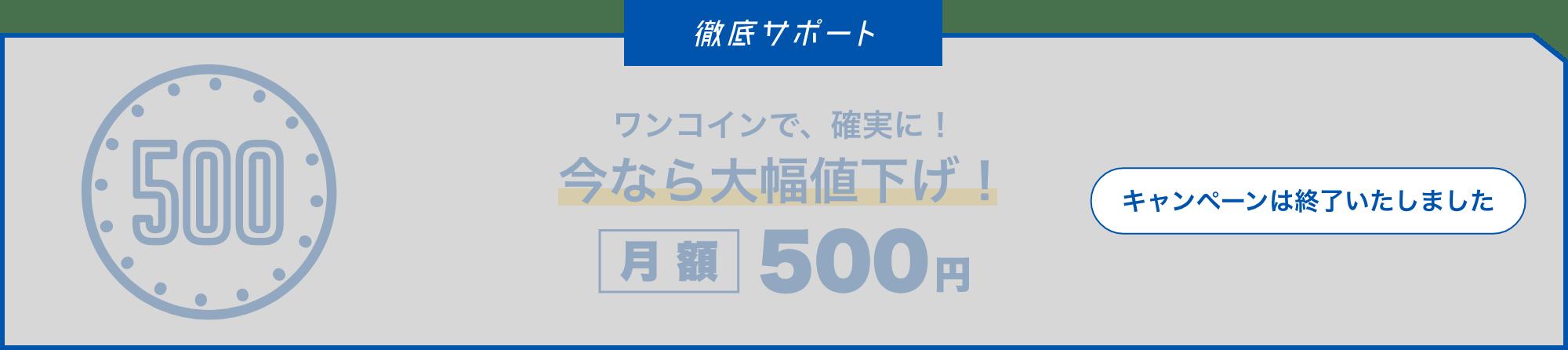 今なら月額500円