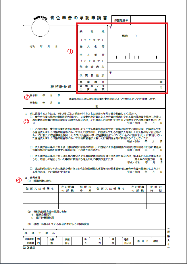 法人の青色申告承認申請書の書き方