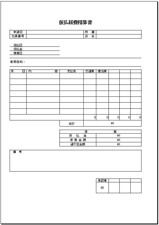 仮払経費精算書テンプレート