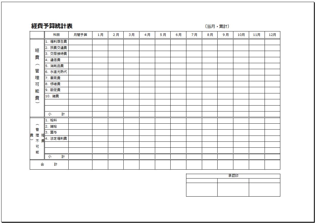 承認欄あり_経費予算統計表テンプレート