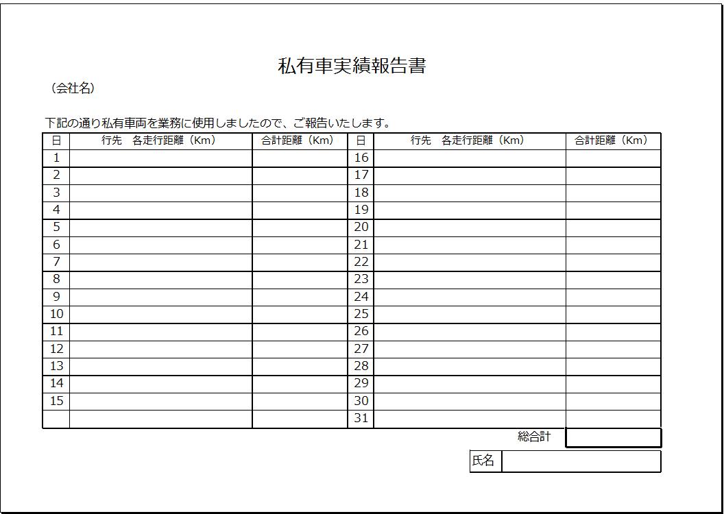 横書き 私有車実績報告書テンプレート 経費精算システム mfクラウド経費