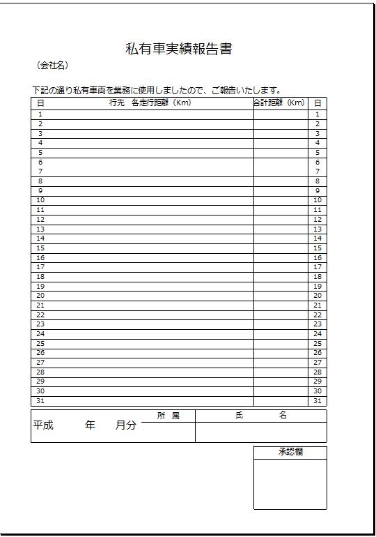 承認欄あり_私有車実績報告書テンプレート