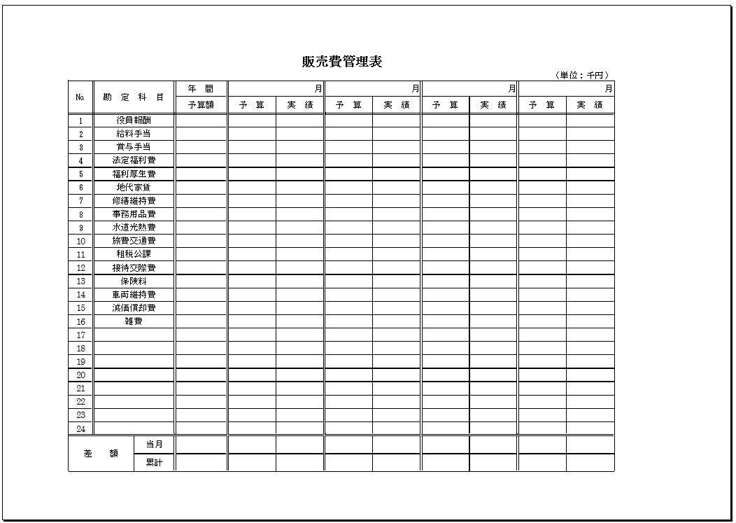勘定科目別_販売費管理表テンプレート
