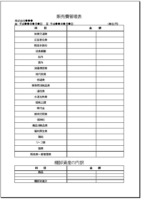 棚卸資産欄あり_販売費管理表テンプレート