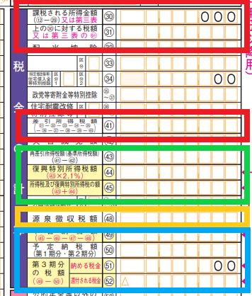 「税金の計算」に記載する数値は、画像の赤、緑、黄、青それぞれの枠組ごとにまとめる