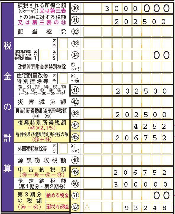 確定申告書第一表の「税金の計算」の欄2