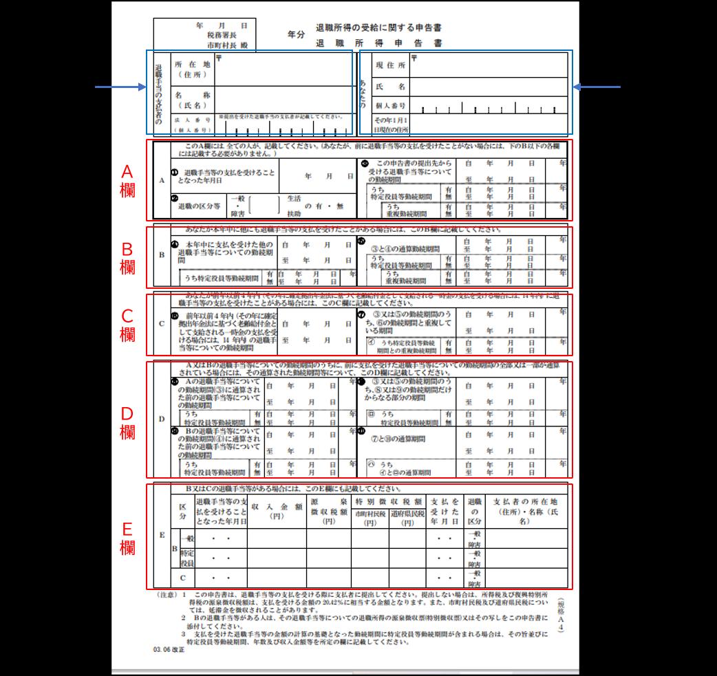 「退職所得の受給に関する申告書」
