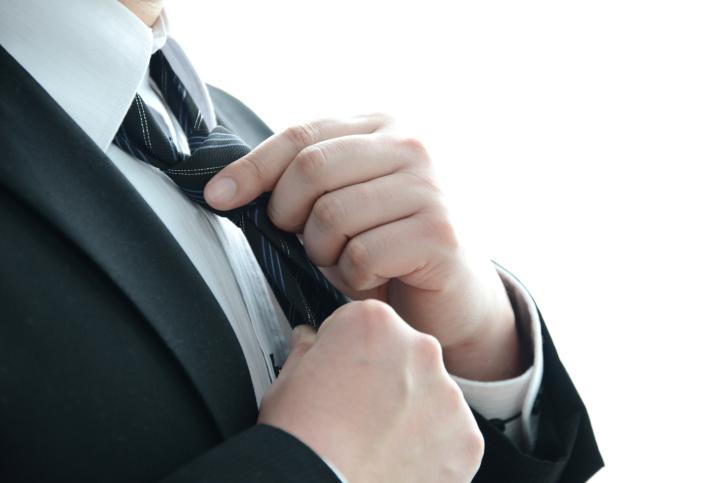 Businessman wearing necktie